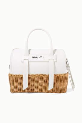91fe45d46df4 Miu Miu Textured-leather And Rattan Tote - White