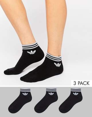 adidas 3 pack black ankle socks with trefoil logo