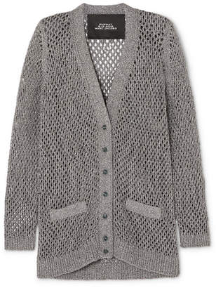 Marc Jacobs Metallic Open-knit Cardigan - Silver