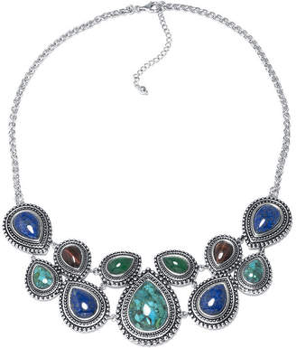 FINE JEWELRY Enhanced Turquoise and Multi-Stone Sterling Silver Necklace