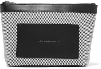 Alexander Wang - Leather-trimmed Woven Canvas Pouch - Gray $150 thestylecure.com