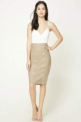 Forever 21 Faux Leather Button-Front Skirt