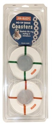 Jim-Buoy 400 Life Ring No-Tip Drink Coasters - 6 Pack