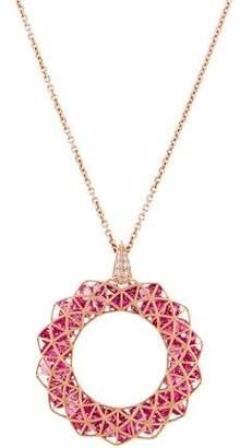 Co Roule & 18K Pink Spinel & Diamond Shaker Pendant Necklace