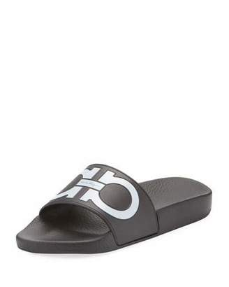 Salvatore Ferragamo Groove Pool Slide Sandals, Black