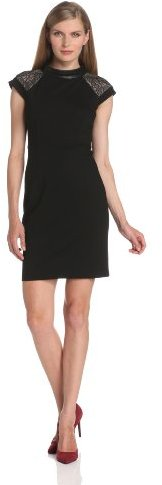 Magaschoni Women's Short-Sleeve Ponte Dress with Leather Trim
