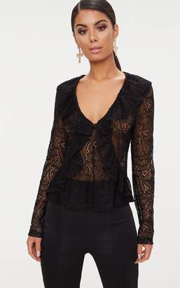 PrettyLittleThing Black Lace Frill Detail Blouse