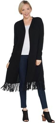 Susan Graver Acrylic Sweater Cardigan with Fringe