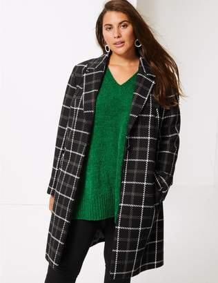 Marks and Spencer CURVE Cotton Rich Single Breasted Coat