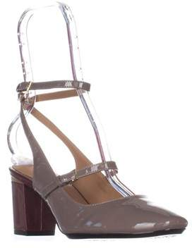 Calvin Klein Cleary Ankle Strap Heels, Winter Taupe Patent.