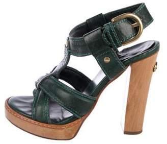 Chloé Leather High-Heel Sandals Green Chloé Leather High-Heel Sandals