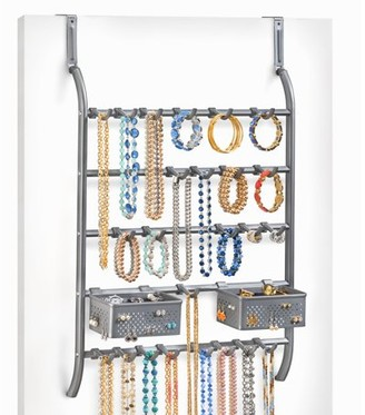 Lynk Over Door or Wall Mount Jewelry Organizer Rack with Hooks - Necklace, Bracelet, & Earring Holder Platinum