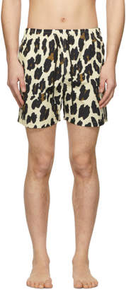 Off-White Solid and Striped Leopard Classic Swim Shorts