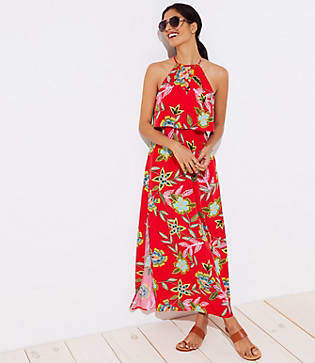 LOFT Beach Floral Lace Up Tiered Maxi Dress