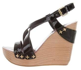 Louis Vuitton Patent Leather Ankle Strap Wedges