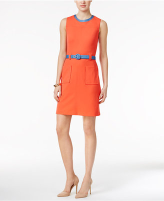 Tommy Hilfiger Belted Sheath Dress $129 thestylecure.com