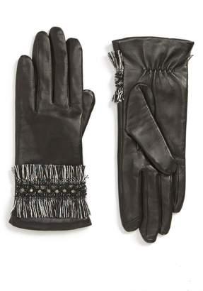 Badgley Mischka Fringe Cuff Leather Touchscreen Gloves