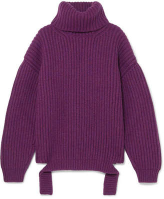 Balenciaga Ribbed Wool Turtleneck Sweater - Plum
