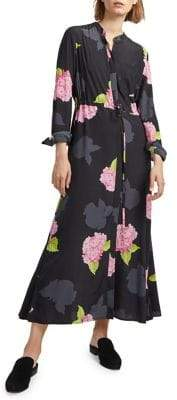 French Connection Floral Long-Sleeve Shirt Dress