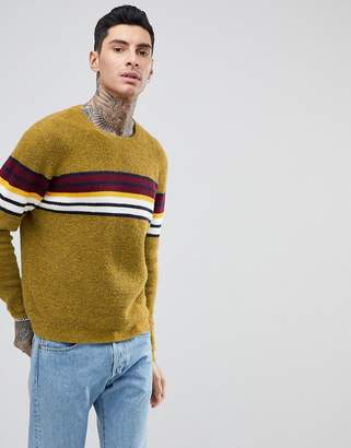 Asos Design Knitted Jumper With Colour Block Stripe