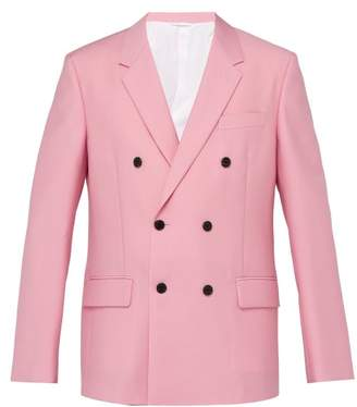 Calvin Klein Double Breasted Mohair Blend Blazer - Mens - Pink