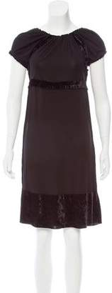Anna Sui Velvet Trimmed A-Line Dress