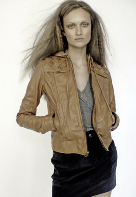 Mike & Chris Chapman Leather Jacket with Woven Leather Placket in Black or Saddle Tan