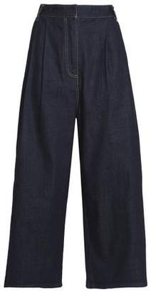 Tibi Cropped High-Rise Wide-Leg Jeans