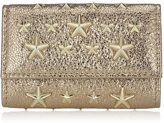 Jimmy Choo NEPTUNE Gold Glitter Leather Key Holder with Gold Stars