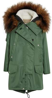 Burberry Faux Fur Trim Parka with Detachable Warmer