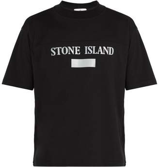 Stone Island Reflective Panel Cotton Jersey T Shirt - Mens - Black