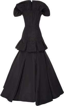 Christian Siriano Tiered Silk Faille Strapless Gown Size: 6