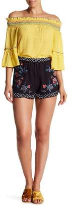 Flying Tomato Embroidered Woven Shorts