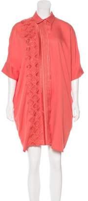Megan Park Mini Embroidered Shirtdress w/ Tags Coral Mini Embroidered Shirtdress w/ Tags