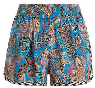 Etro Paisley Print Silk Crepe Shorts - Womens - Blue Multi