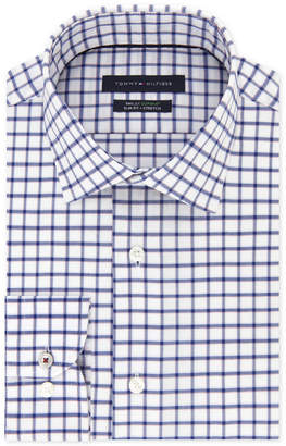 Tommy Hilfiger Men's Big and Tall Slim-Fit Th Flex Stretch Performance Navy Check Dress Shirt