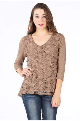 Asstd National Brand Crochet Front Lined Blouse