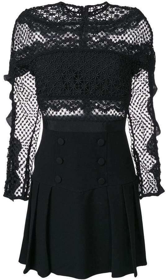 Self-Portrait crochet pleated dress