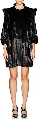 Opening Ceremony Women's Metallic-Striped Velvet Ruffled Dress - Black