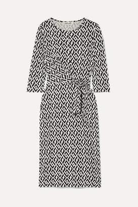 Diane von Furstenberg Pearl Tie-detailed Printed Silk-jersey Dress - Black