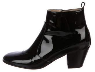 Aquatalia Patent Leather Round-Toe Booties