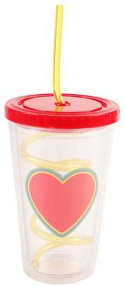 Girls Paperchase Heart Straw Cup - Red