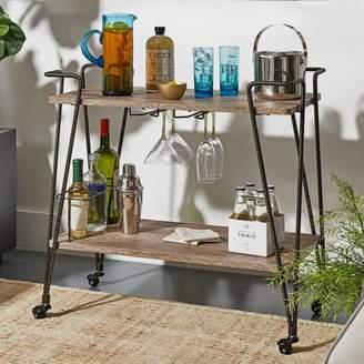 Weston Home Dark Bronze Metal and Wood Kitchen Cart