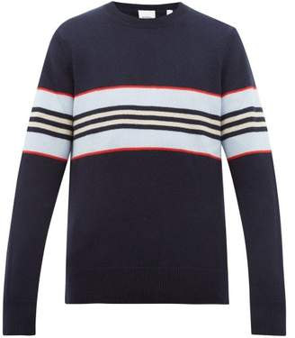 Burberry Striped Cashmere Sweater - Mens - Navy