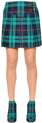 Esteban Cortazar Pleated Plaid Stretch Denim Mini Skirt