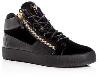 Giuseppe Zanotti Men's Velvet & Patent Leather Mid Top Sneakers