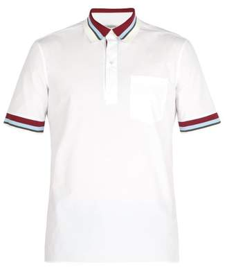 Valentino - Striped Rib Knit Trimmed Cotton Poplin Polo Shirt - Mens - White