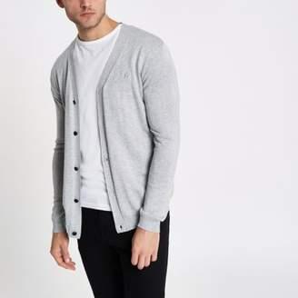 River Island Grey V neck button-up cardigan