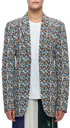 Victoria Beckham Mini Floral-Print Blazer Jacket