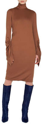 Akris Mock-Neck Draped-Sleeve A-Line Cashmere-Silk Jersey Dress